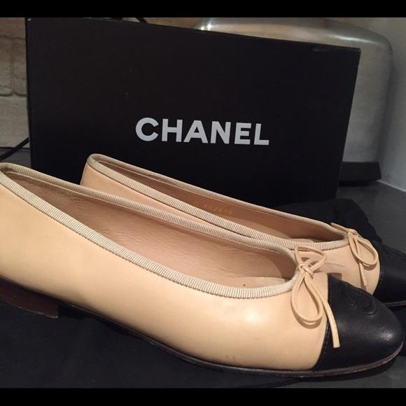 best website 69747 ec3a8 Classic Chanel Ballerina Flats in Beige/Black