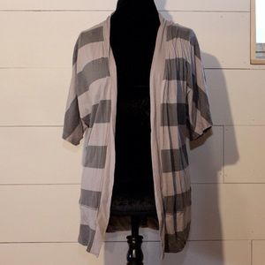 Forever 21 Sweaters - Grey striped cardigan short sleeve