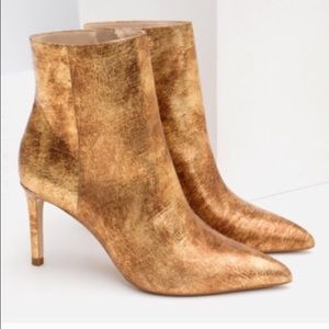 Zara genuine leather gold pointed booties