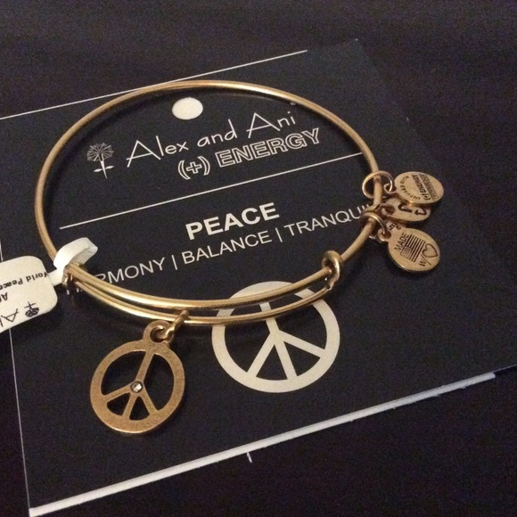 Alex And Ani Jewelry World Peace Symbol Gold Bangle Bracel Poshmark