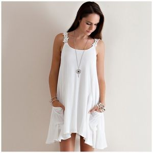 Dresses & Skirts - 🎉HP🎉Off White A-Line Sleeveless Lace Strap Dress