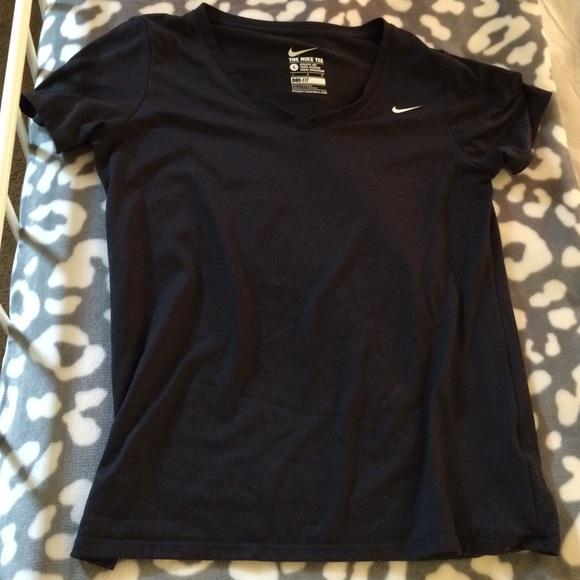 92b9c9b5 Nike Tops | Womens Dryfit Black Vneck Tshirt | Poshmark