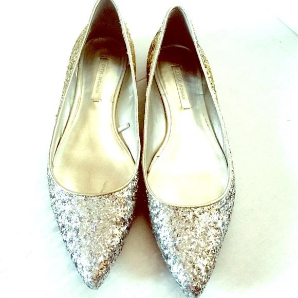 cd69a6051374 Zara Ombre Glitter Flat Shoes. M 5701dd1899086ac8590d807e