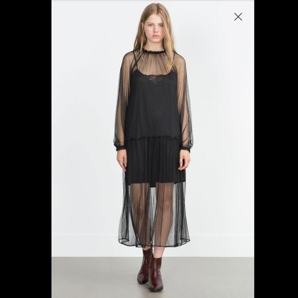 4b3b2f2e Zara black lace maxi dress NWT