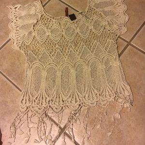 White lace and fringe top
