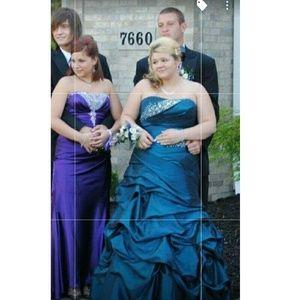 Dresses - Blue mermaid corset prom dress