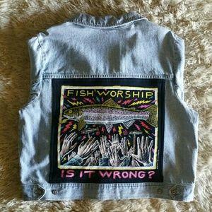 Vintage Jackets & Blazers - || vintage || Custom Fish Worship Jean Jacket