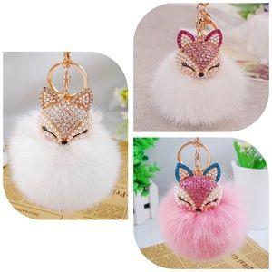 Fox Fur Ball/PomPom Keychain/Bag Charm