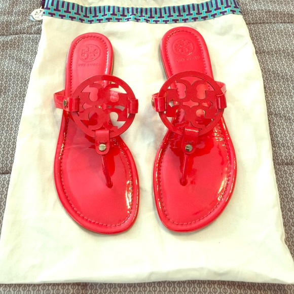 77e2ede06d6 EUC bright red Tory Burch Miller sandals. M 570273775a49d0033e00191e