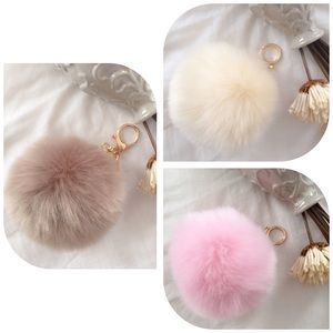 10Cm Light Brown PomPom/FurBall Bag Charm/Keychain