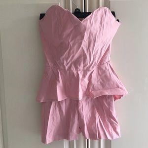 Strapless pink romper