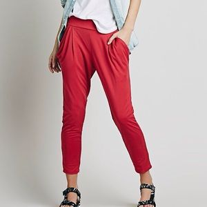 FREE PEOPLE RED DRAPEY POCKET PANTS