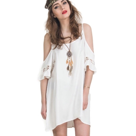 4727d9f40778 WHITE FLOWY BOHO CHIC OFF SHOULDER TUNIC DRESS S M