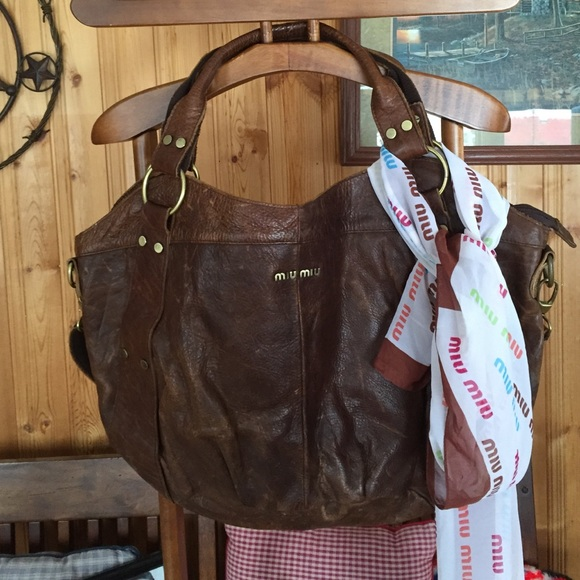 7be5baa0c HUGE MIU MIU purse /tote scarf brown distressed. M_57029fb4f09282df020e8a69