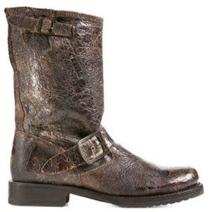 Veronica Short Boot in Brown Distressed Vintage