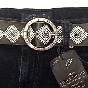 Lucky Brand Brown Leather Embroidered Tribal Belt