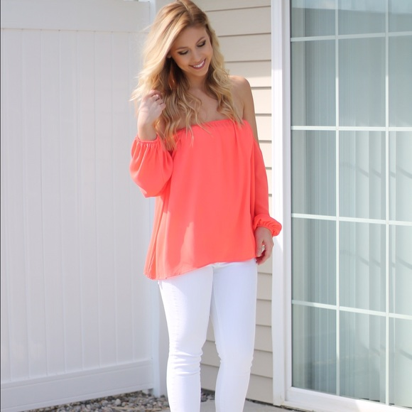 1658adbaa8115a Coral Off The Shoulder Top