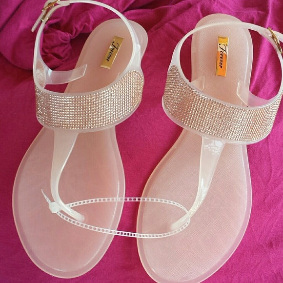 bf9785058e376d Light peach jelly sandals with bling.
