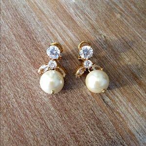 J. Crew pearl and crystal teardrop earrings