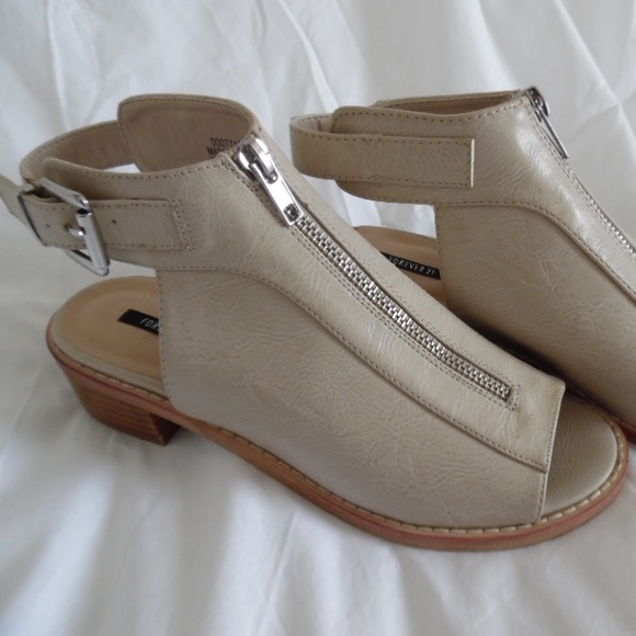 Forever 21 Shoes - Beige open toe booties with low heels 554eb55a413b