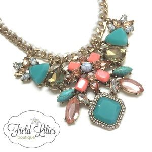 SALE Mint and Peach Statement Necklace
