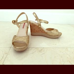Prada Shoes - Prada Gold Glitter Cork Wedge Sandals