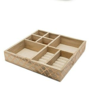 Jewelry Organizer Tray -  Beautiful Wood & Gold