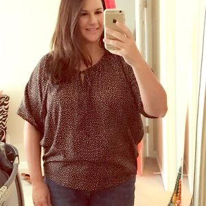 Loft Black and Tan Dotted Top