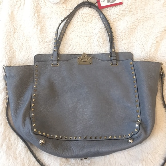 d324d60c04 Valentino Bags | Rockstud Tote Anthracite Pebbled Leather | Poshmark