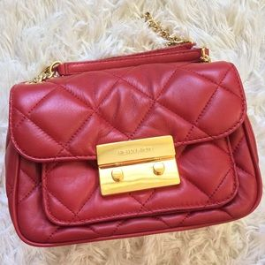Michael Kors red quilted small Sloan