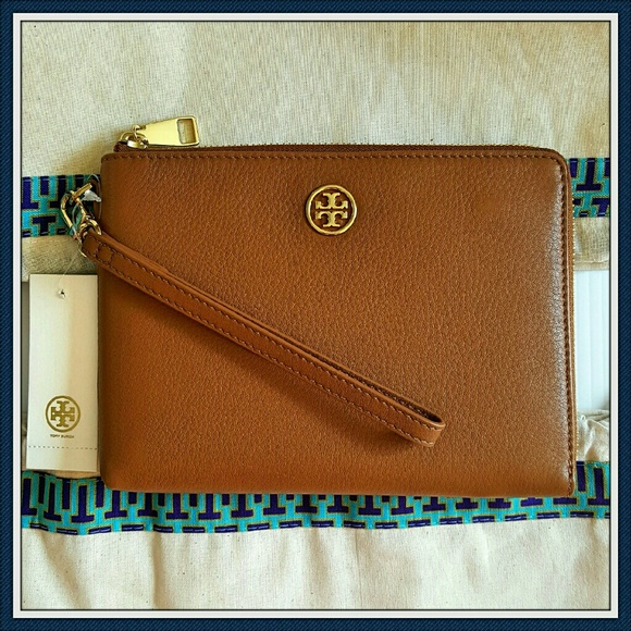 c30d07dd26d2 Tory Burch Large Brown Leather Wristlet Clutch