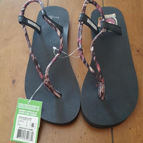 119d5888976a Sanuk Sling Fling marble thong yoga sandals 6 NEW