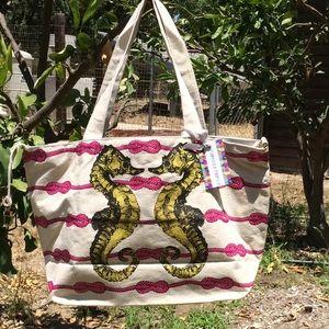Thursday/Friday Handbags - Sea Horse Canvas Beach Tote Bag