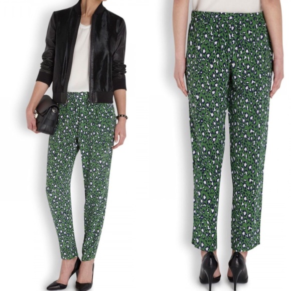 3e9a9e550a27 Joie Pants | Green Gage Leopard Print Silk Crepe Trousers | Poshmark