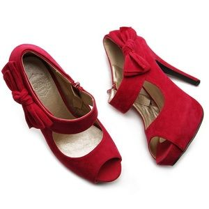 Ollio Shoes - Ollio Faux Suede Peep Toe Bow Strap Red Heels Sz 8