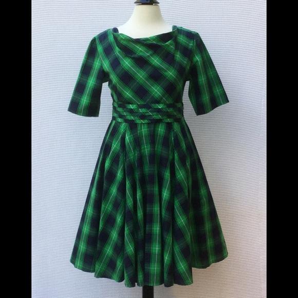 Dark Green Plaid Dress