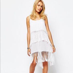 ☀️NWOT! Boohoo White Fringe Dress ☀️