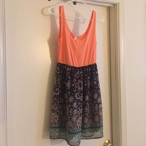 Orange and printed tank dress