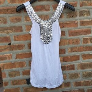 Body Central Tops - White Rhinestone Tank Top