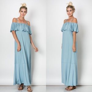Dresses & Skirts - Off The Shoulder Ruffle Slit Maxi