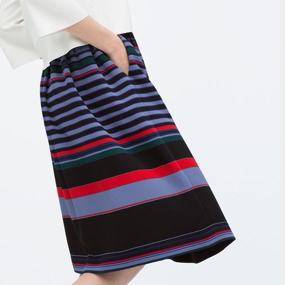 zara stripe midi skirt with pockets from s closet on