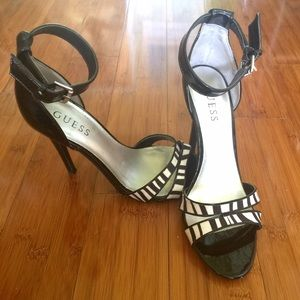 Guess Shoes - Guess black and white zebra heels