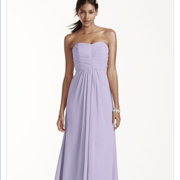 c7f9168f28a8 David's Bridal Dresses & Skirts - Long Strapless Chiffon Dress and Pleated  Bodice