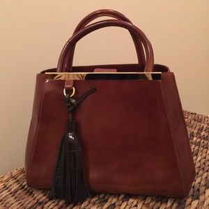 Italian cognac leather handbag