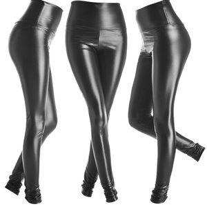 Faux leather legging pleather small shiny black
