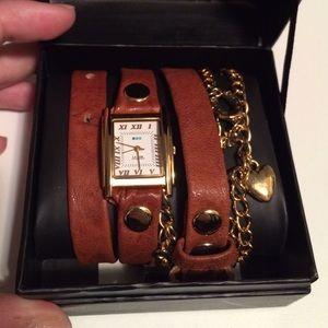 La Mer Accessories - La Mer Collections Brown & Gold Wrap-Around Watch