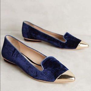 Anthropologie Shoes - Anthro Guilhermina Velvet Slipper Flats Navy Sz 9