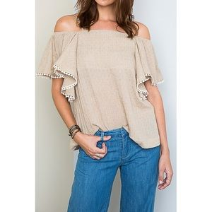 Tops - Off Shoulder Bohemian Chic Taupe Top (S)