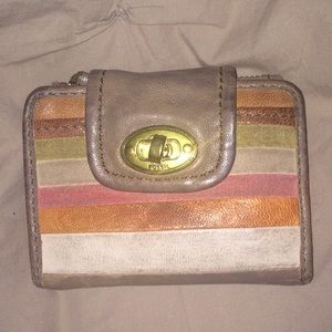 Striped Leather Fossil Wallet