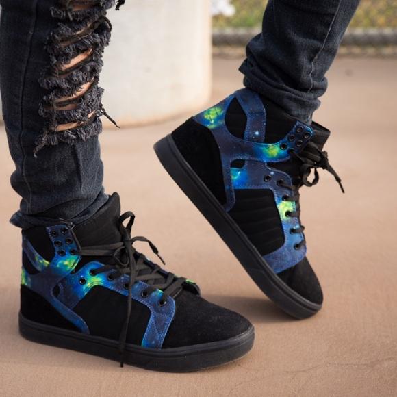 Black Galaxy Hightop Shoes Mens Unisex Blue Green